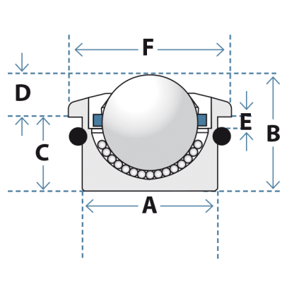 schematic of mo-series medium duty ball transfer unit